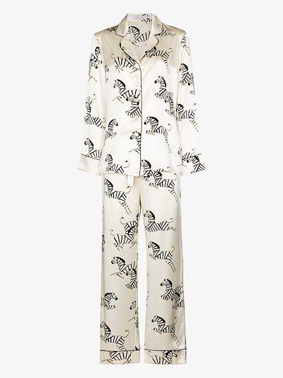 Lila Zebedee zebra motif silk pyjamas