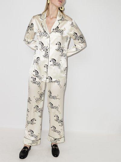 Lila Zebedee zebra print silk pyjamas