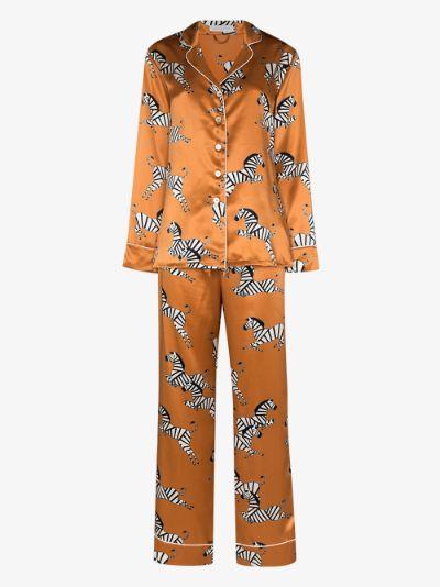 Lila Zelda zebra motif silk pyjamas