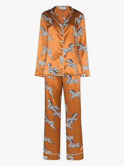 Lila Zelda zebra print silk pyjamas