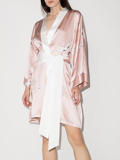 Mimi Pearl bird print silk robe