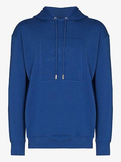 embossed box logo slim-fit hoodie