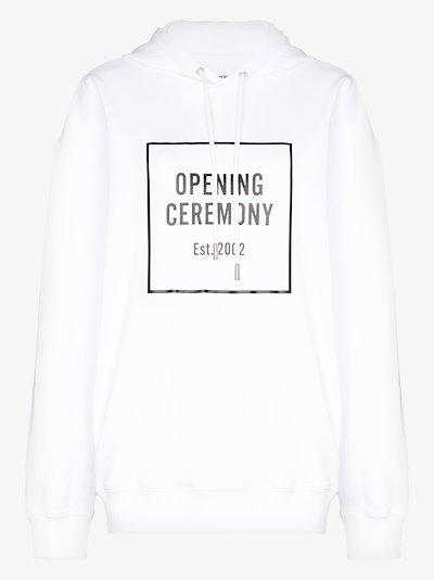 white box logo cotton hoodie