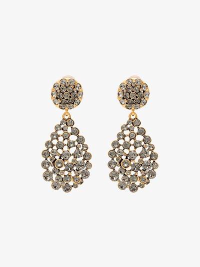 black crystal drop earrings