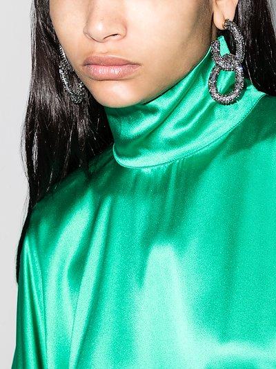 Black crystal drop hoop earrings