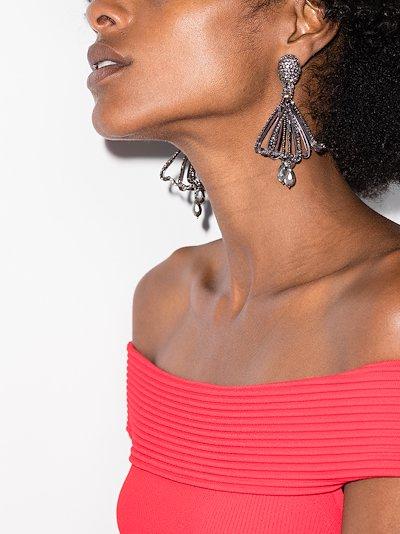 black Impatiens crystal drop earrings