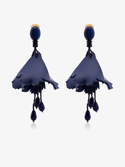 blue Impatiens floral drop earrings
