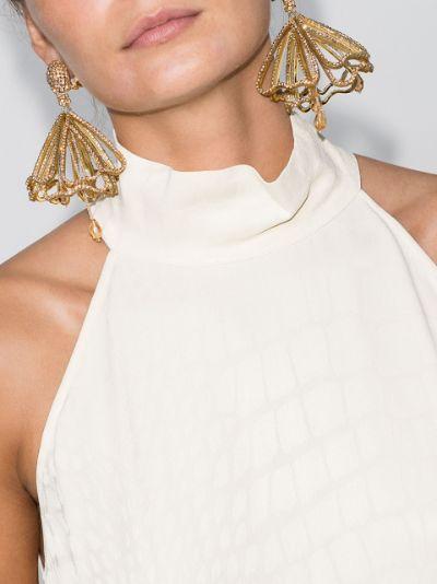 gold tone Impatiens crystal drop earrings
