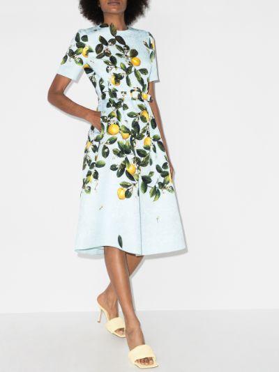 Lemon Print Jacquard Midi Dress