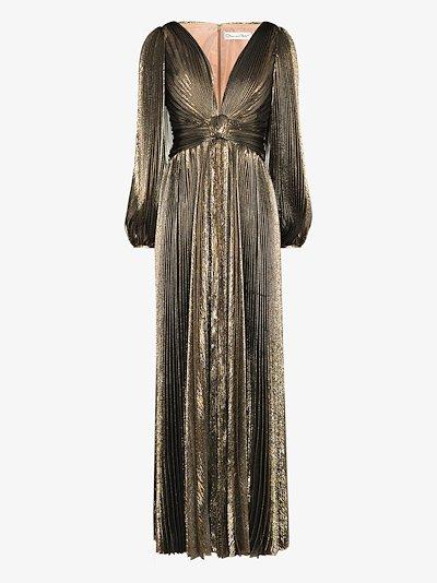 metallic silk evening gown