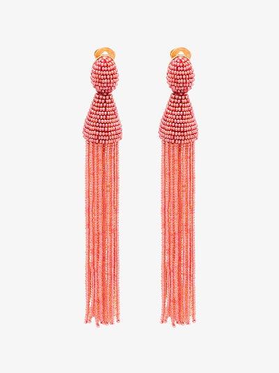 pink long bead tassel earrings