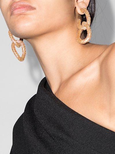 rose gold tone crystal drop hoop earrings