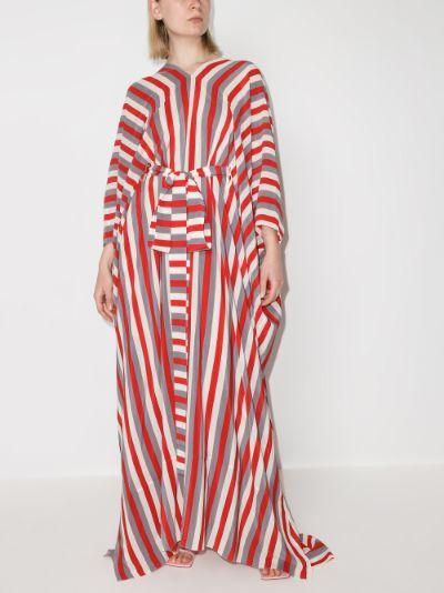 striped silk kaftan dress