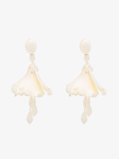white Impatiens floral drop earrings