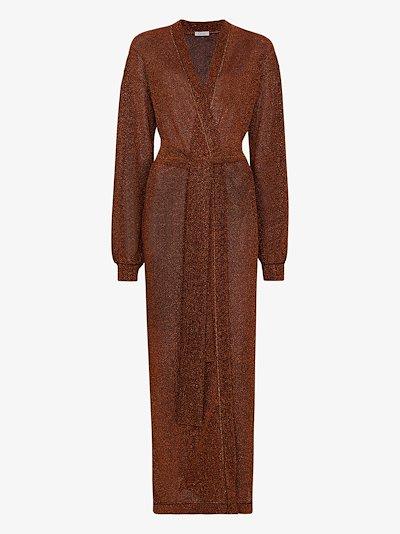 Lumière metallic belted robe