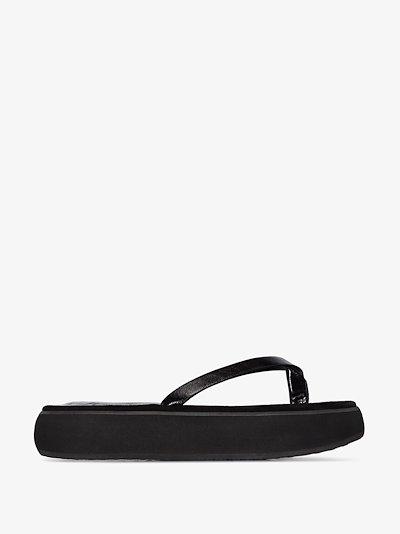 Black Boat 40 flatform leather sandals