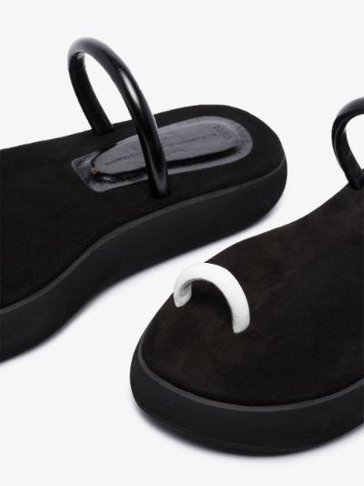 black boat decker flatform leather sandals