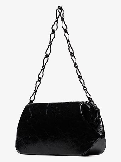 Black Dutch Brot wrinkled leather shoulder bag