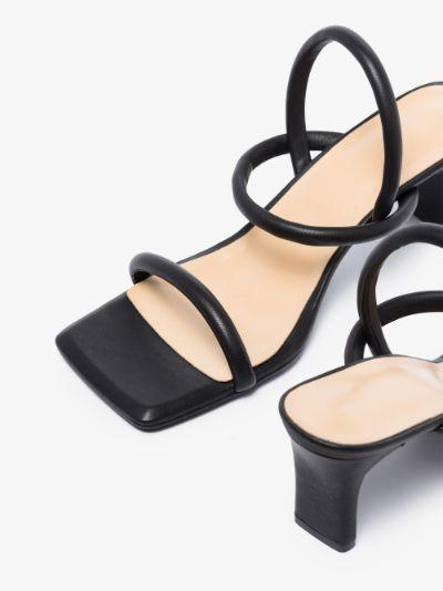 black Square Tuber 70 leather sandals