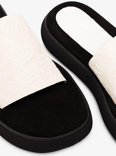 white Boat 40 flatform leather sandals