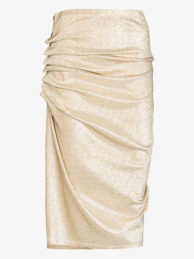 asymmetric ruched midi skirt