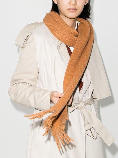 beige English ribbed fringed wool scarf