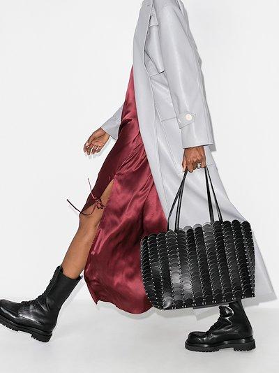 Black Pacoïo large leather tote bag