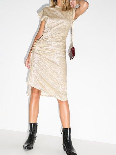 cap sleeve asymmetric midi dress