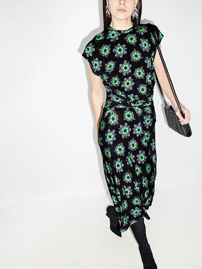 Draped Geometric Print Midi Dress