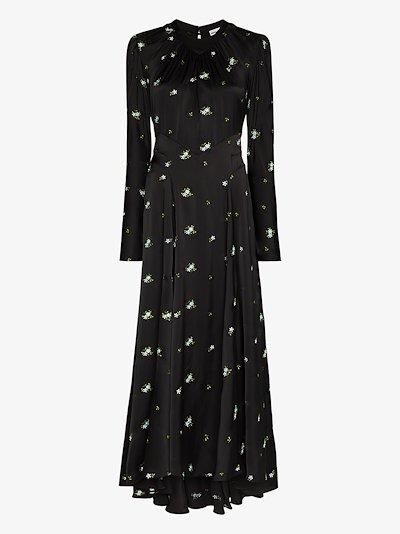 Floral button back maxi dress