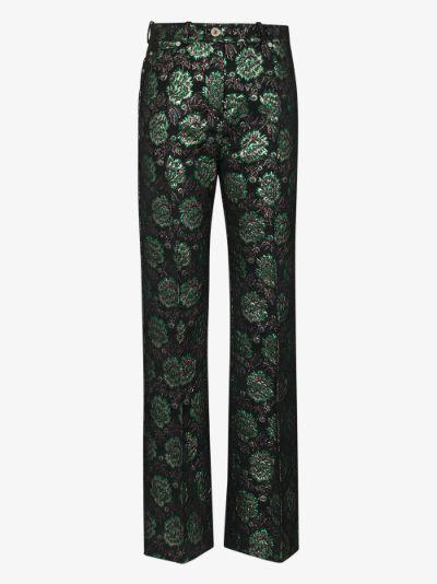 floral jacquard slim leg trousers