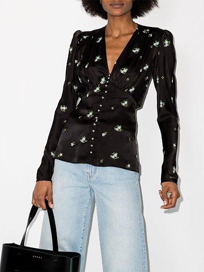 floral print puff shoulder blouse