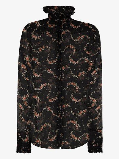floral print semi sheer blouse