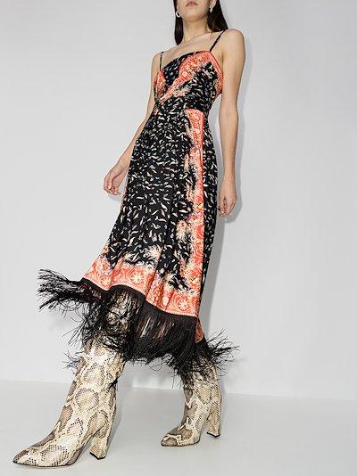 floral print tassel maxi dress