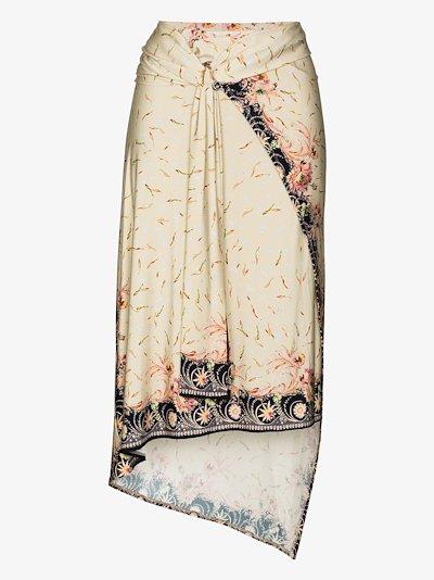 gathered feather print wrap skirt