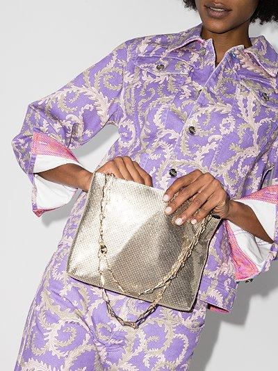 gold pixel 1969 mesh shoulder bag