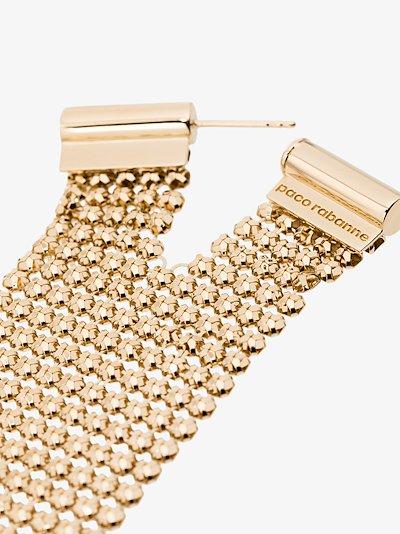 gold tone chain mesh drape earring