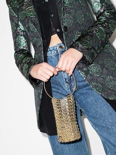 Gold tone chainmail hoop mini bag