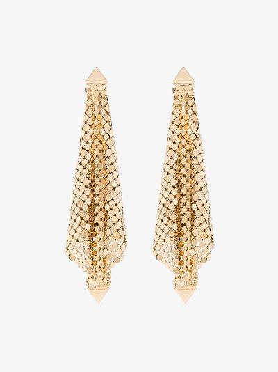 Gold tone draped chain mail earrings
