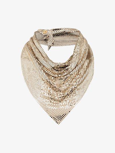 Gold tone draped metal mesh necklace