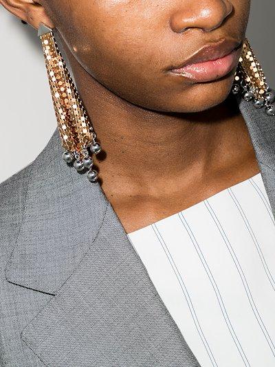 gold tone flexible chain mail drape earrings