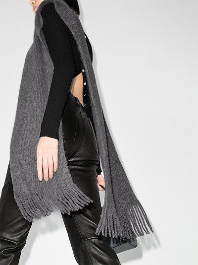 grey English ribbed fringed wool scarf