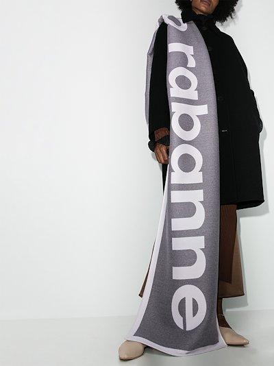 grey logo knit wool scarf