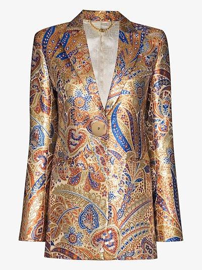 metallic paisley single-breasted blazer