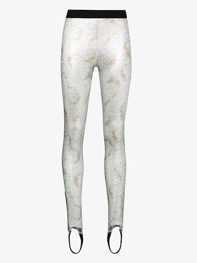metallic rose print stirrup leggings