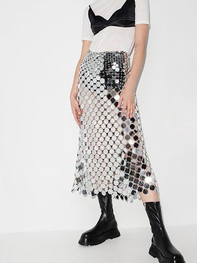 mirrored disc midi skirt