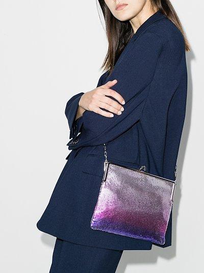 purple and silver liquid neon shoulder bag