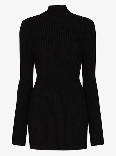 Ribbed turtleneck knit top