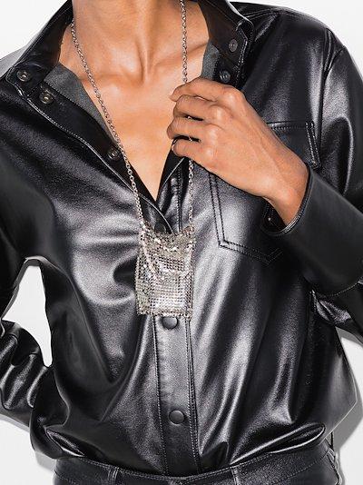 silver tone chain mail pendant necklace