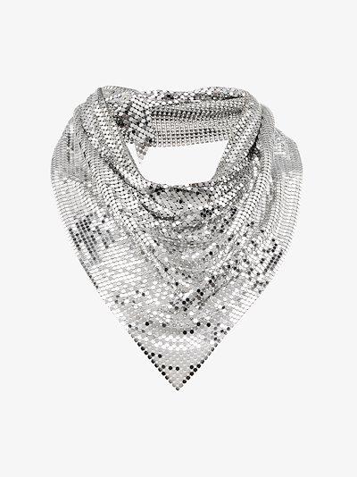Silver tone draped metal mesh necklace